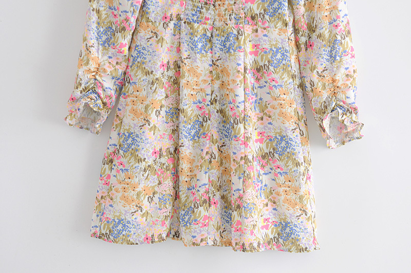 retro psychedelic print small square neck halter lace long sleeve dress NSAM3453