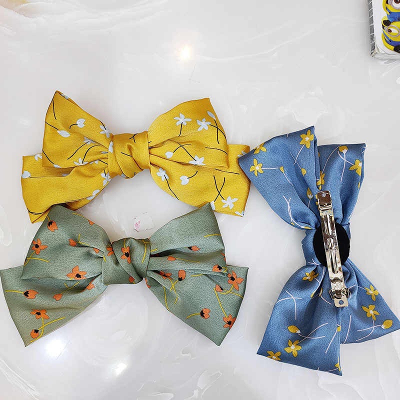 Korean fashion the new small floral bow hairpin high-end fabric simple and small fresh hairpin wide-sided super fairy clip wholesale nihaojewelry NHUX221699