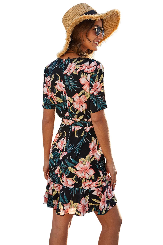 spring and summer new flower print wraparound lace V-neck short-sleeved dress  NSDF427
