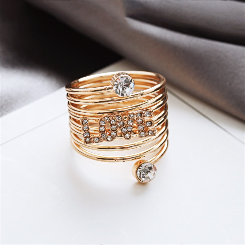 Silver Pentagram Gold LOVE Spring Ring Band wholesales fashion nihaojewelry NHDP201335