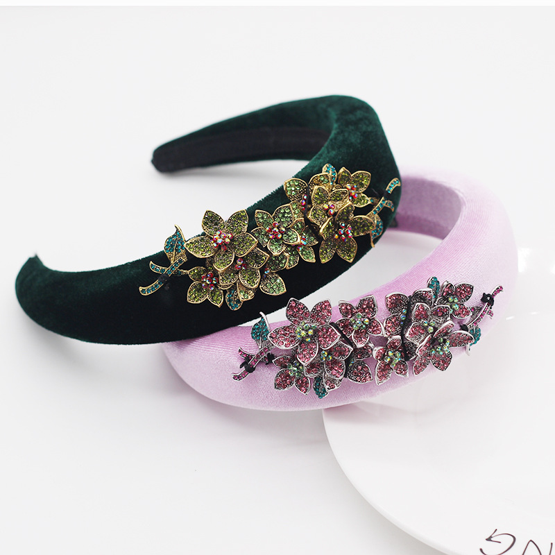New fashion simple style sponge allmatch diamondstudded flower  headband for ladies  NHWJ239511