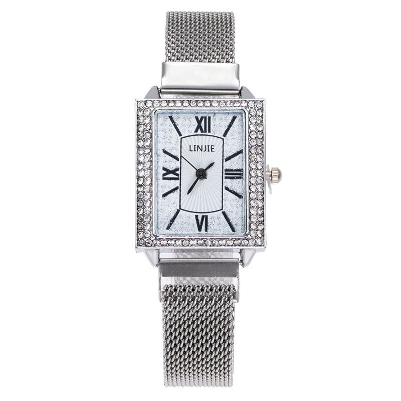 新款手表女气质简约水钻网带女士腕表复古小方盘欧美手表防水女表