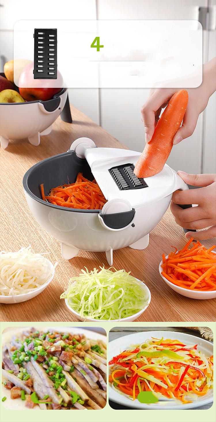 功能擦菜器土豆切片切丝器洗菜篮家用刨丝器 沥水篮切菜器代发