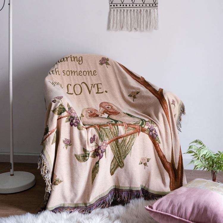 外贸出口美式欧式沙发巾双面流苏梭织毯子