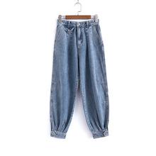 011058街头复古风拼接气质牛仔裤高腰宽松显瘦哈伦垮裤老爹长裤