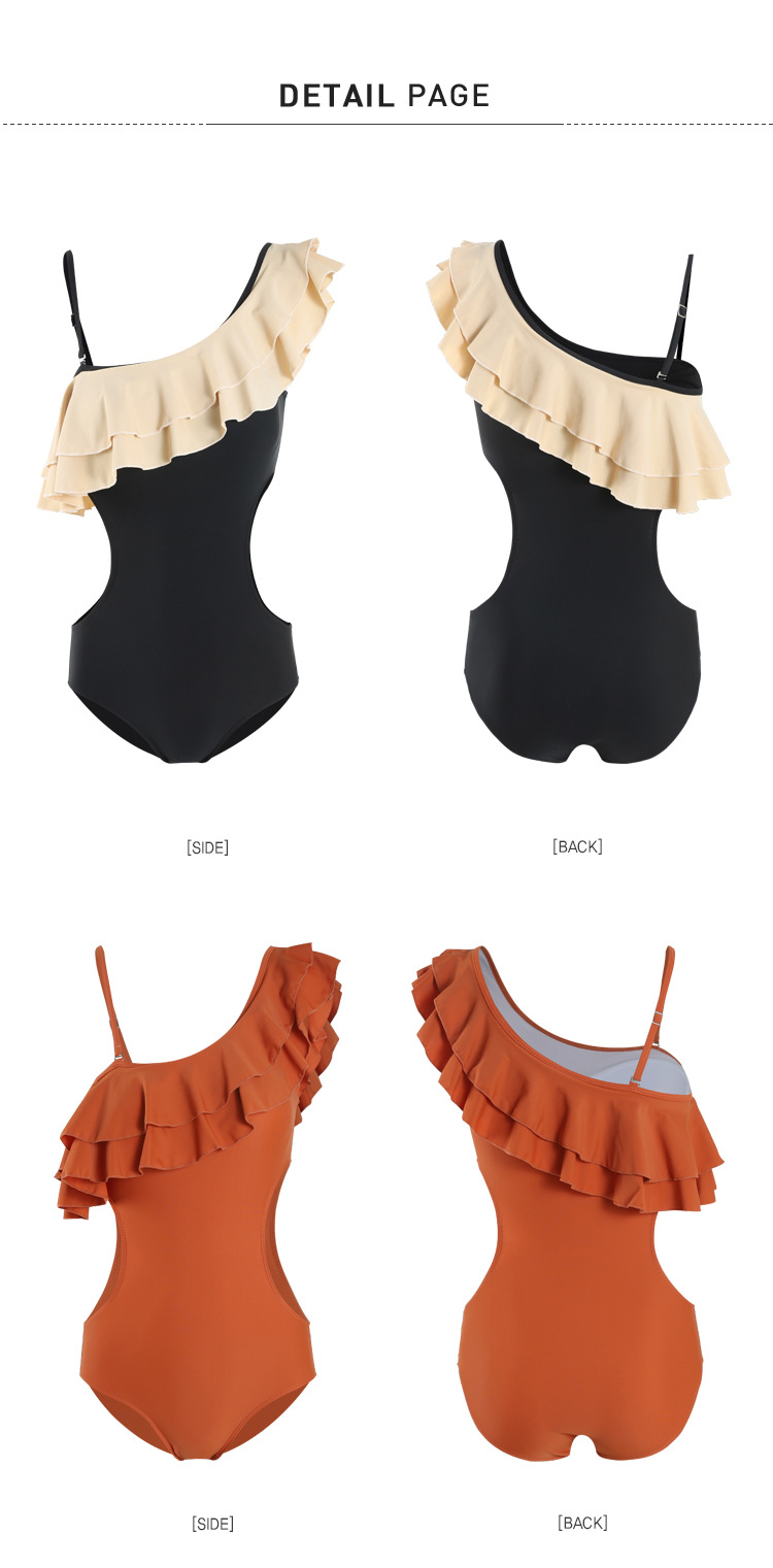 one-shoulder ruffle sexy one-piece swimsuit  NSHL3946