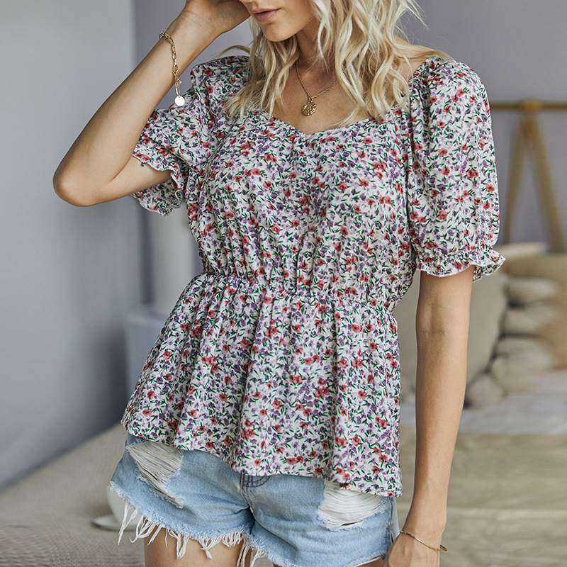 summer women's new floral blouse short sleeve V-neck sexy shirt  NSKA270