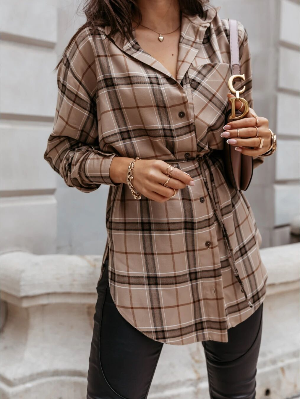 long-sleeved A-line fashion plaid shirt dress NSYF1822