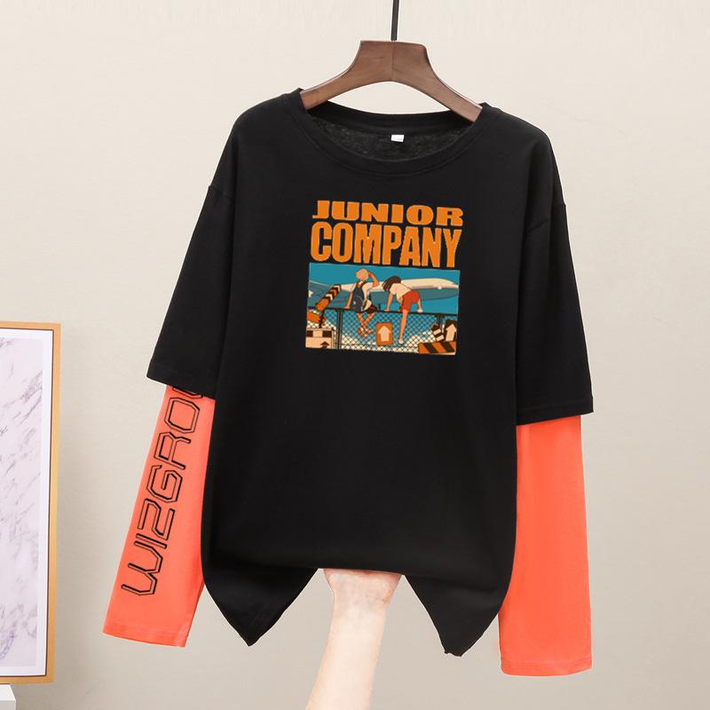 工厂直销 2020早秋女装秋衣 假两件纯棉长袖韩版宽松打底衫
