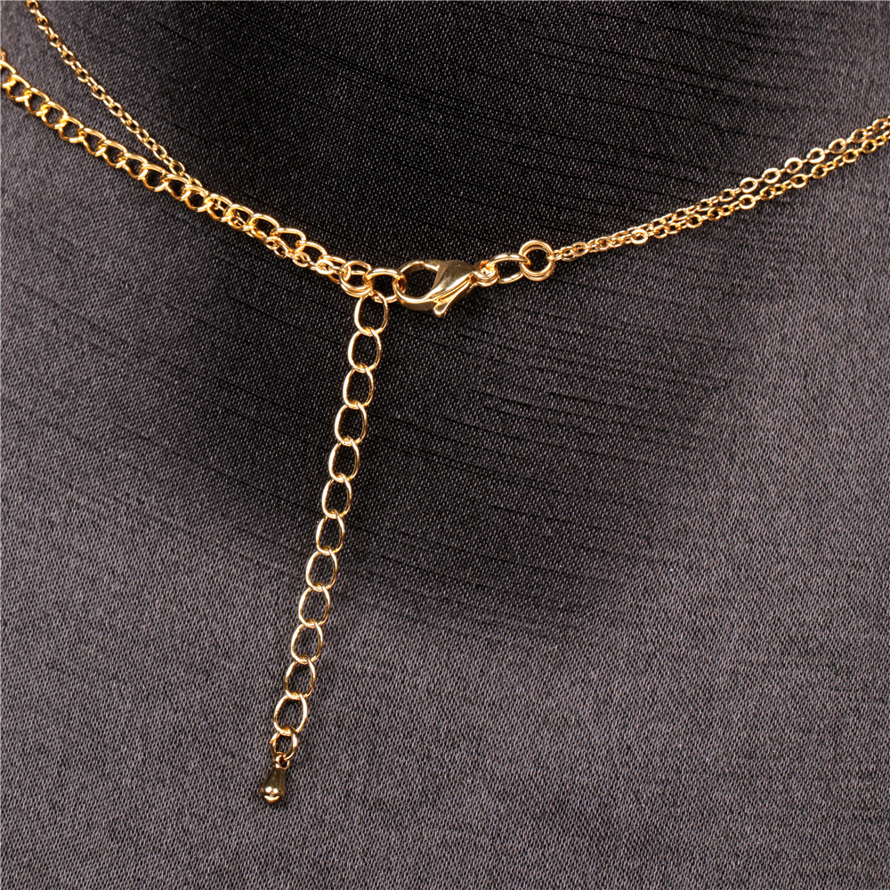 Fashion new money ornaments micro diamond stars sexy simple double copper clavicle necklace wholesale NHPY245596