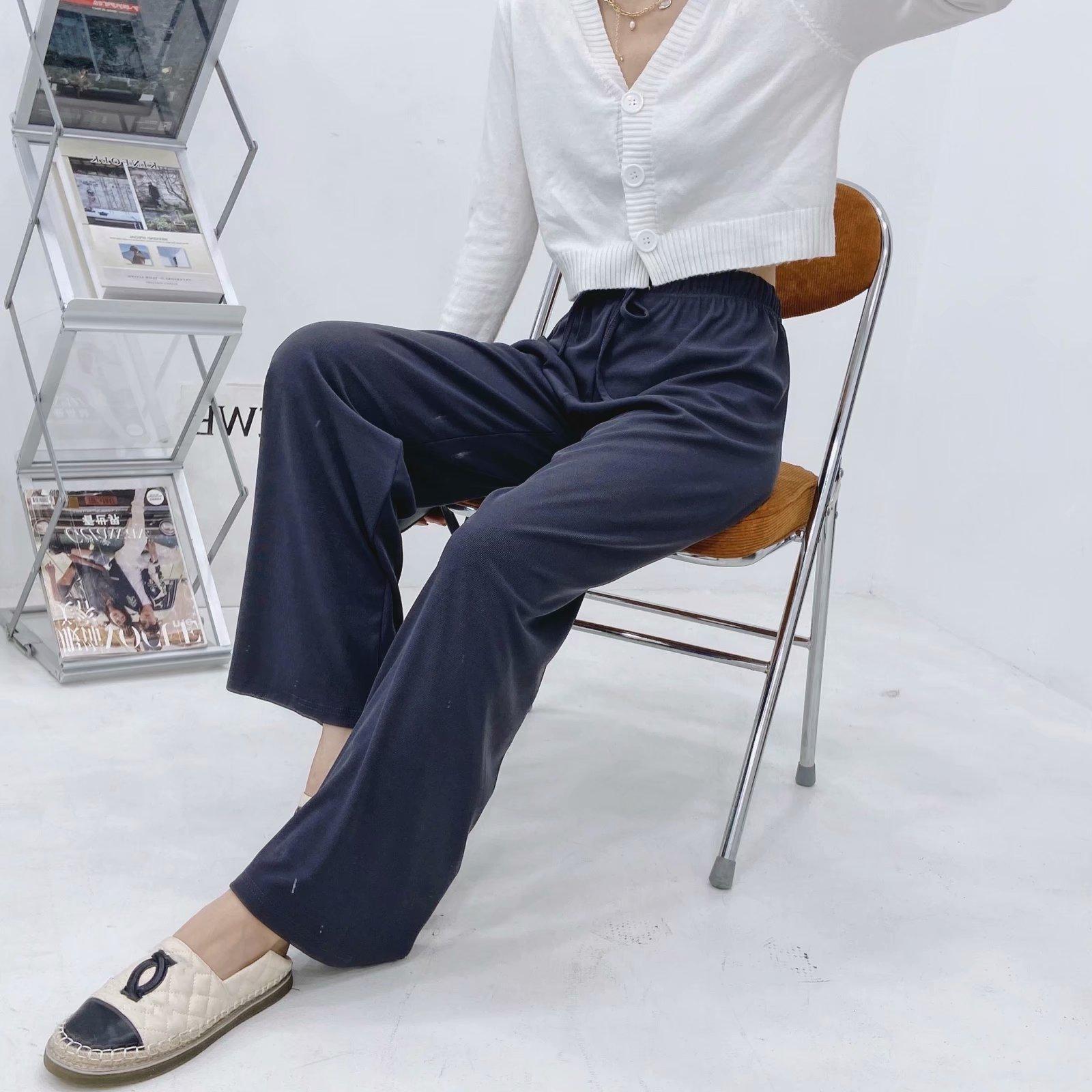 Hot selling autumn new style trousers drawstring silky drape high waist drape wide leg pants  NHAM258682