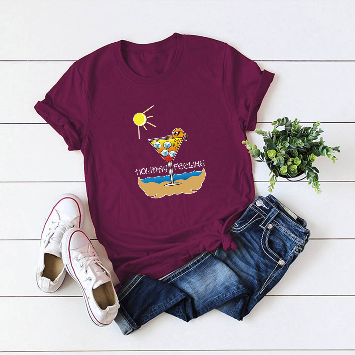 comfortable casual cotton short-sleeved women's T-shirt NSSN1662