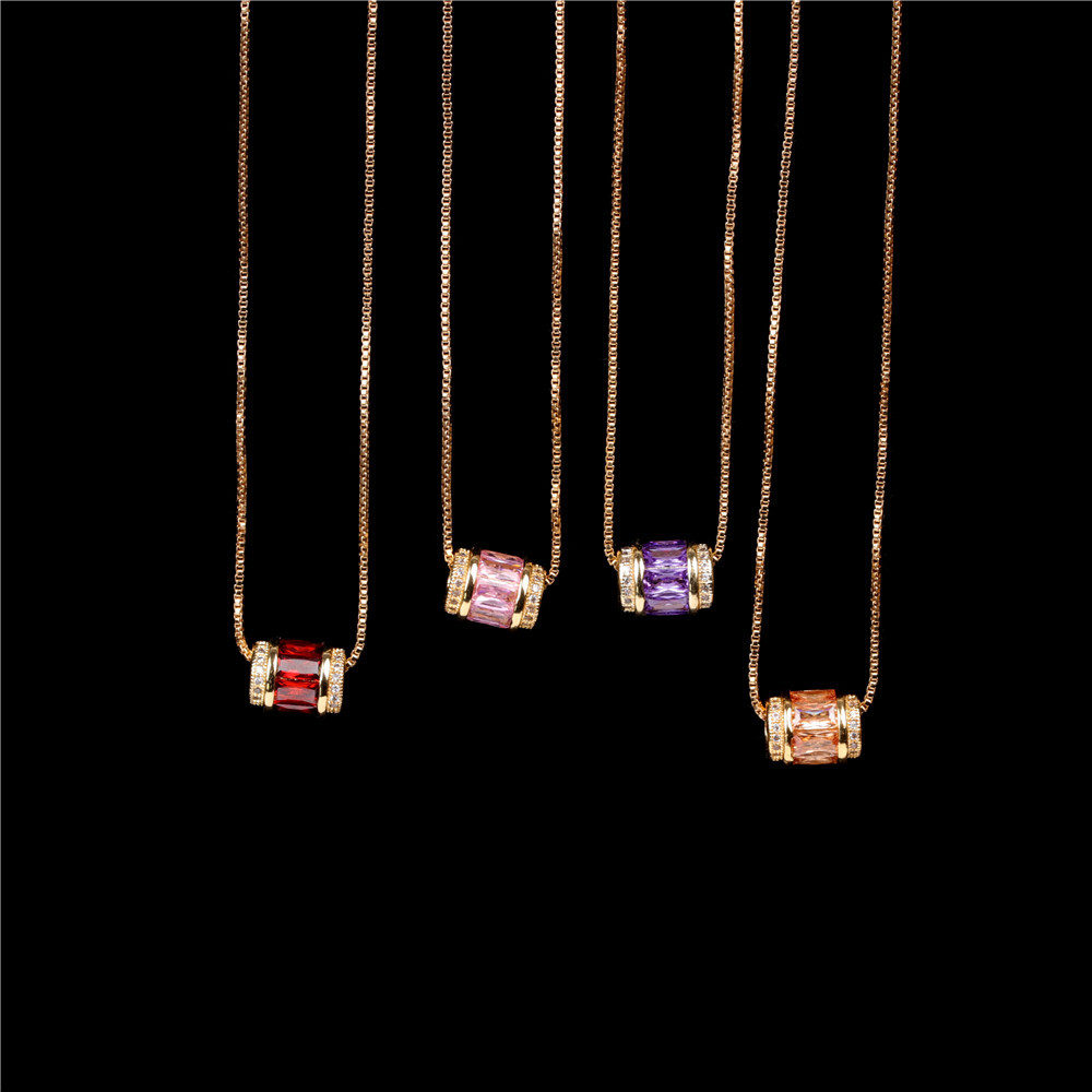Stylish and simple micro-inlaid zircon large hole bead pendant clavicle chain NHPY199133