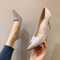 Han edition style 5518-1 point light mouth high-heeled shoes metal web celebrity thin thin and sexy women's shoes with women's shoes