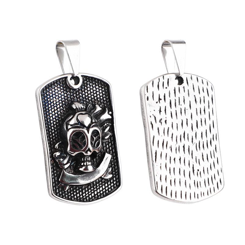 欧美热销外贸爆款大海贼骷髅头铭牌重金属不锈钢吊牌厂家直销代发