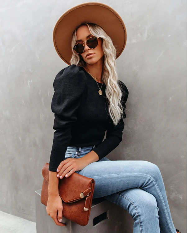 autumn and winter hot style round neck bubble loose long-sleeved solid color sweater top  NSYD3708