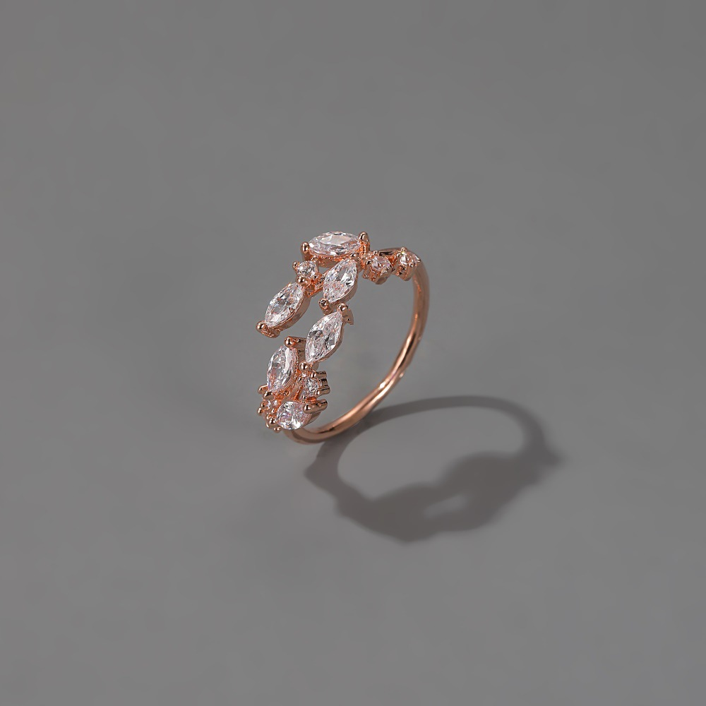 new ring fashion simple open crystal leaf ring inlaid zircon leaf ring wholesale nihaojewelry NHMO234021