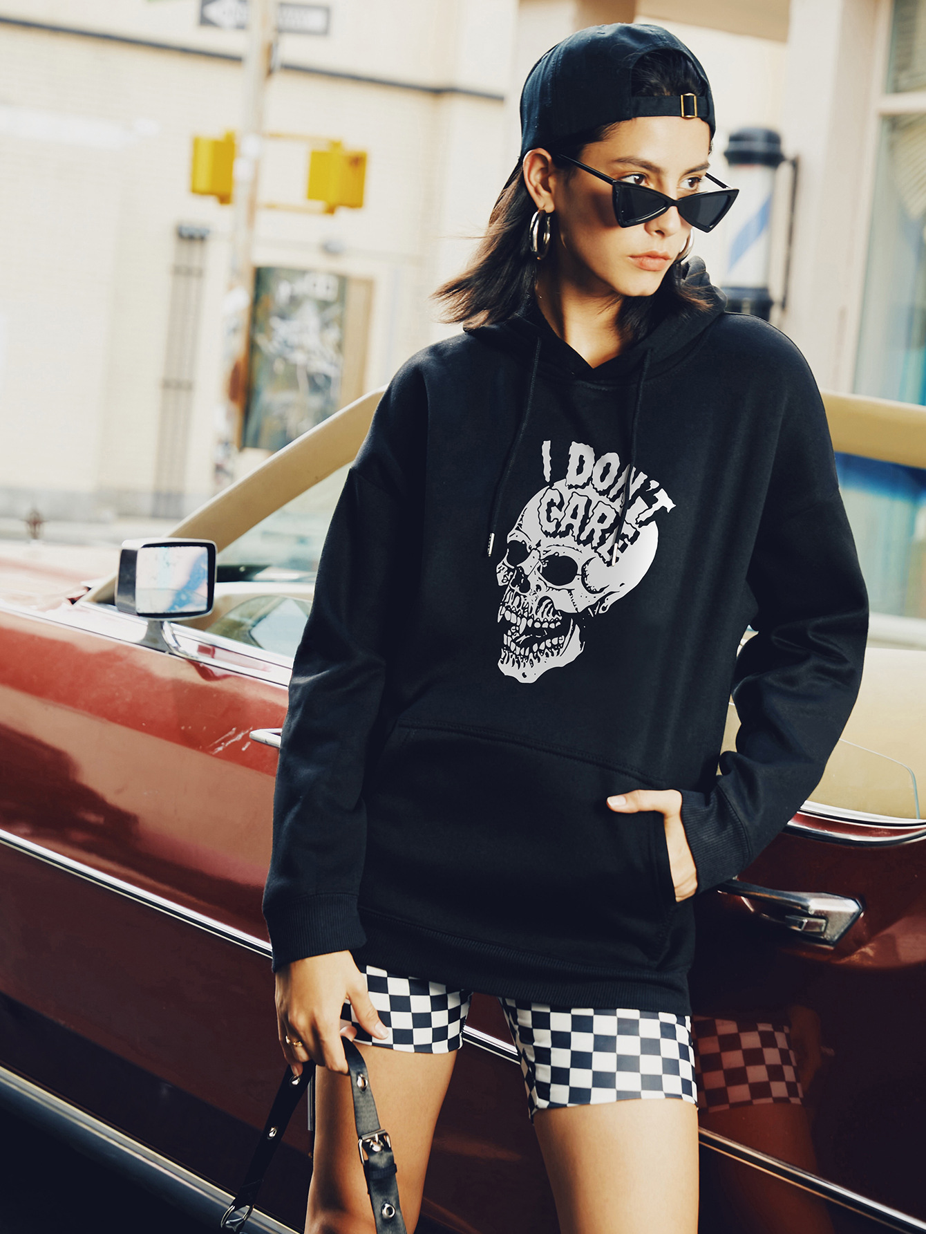 autumn and winter women's hooded sweater skull street casual sweater NSSN363