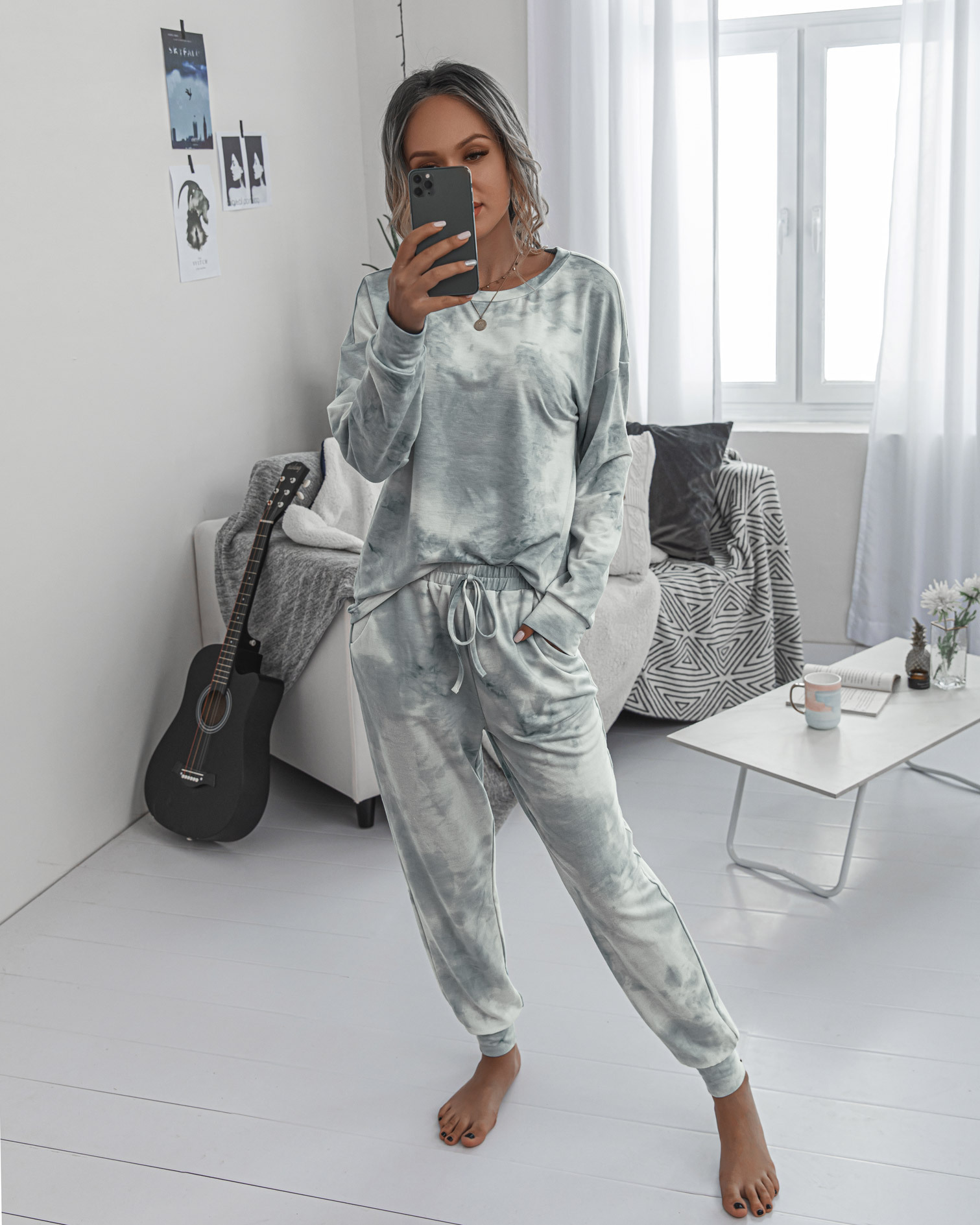 new printing autumn and winter ladies round neck casual long sleeve women's sports suit NSYF863
