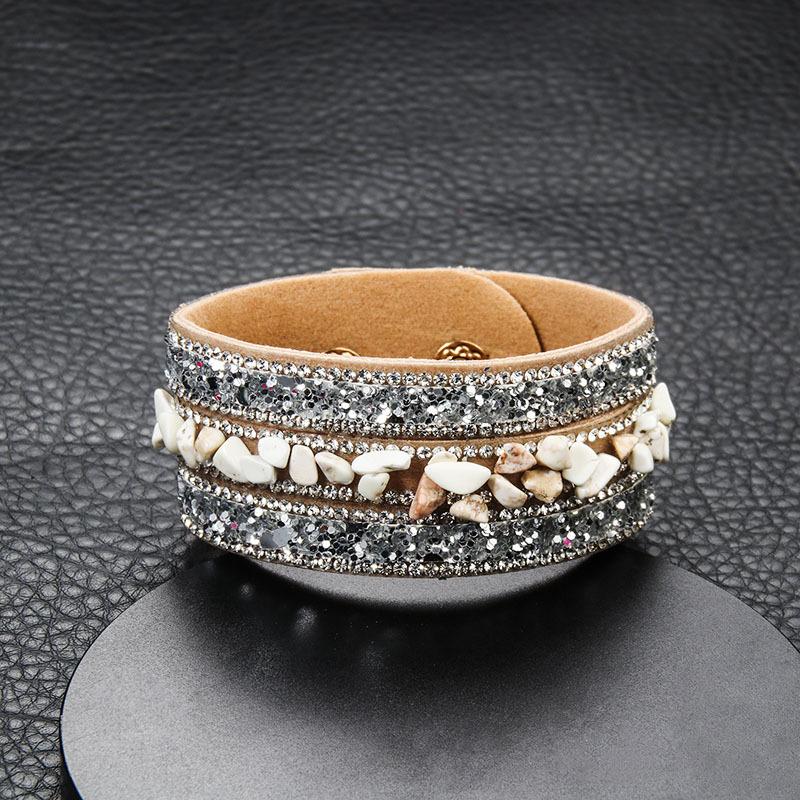 Fashion irregular colorful crystal gravel bracelet NHAYN336569