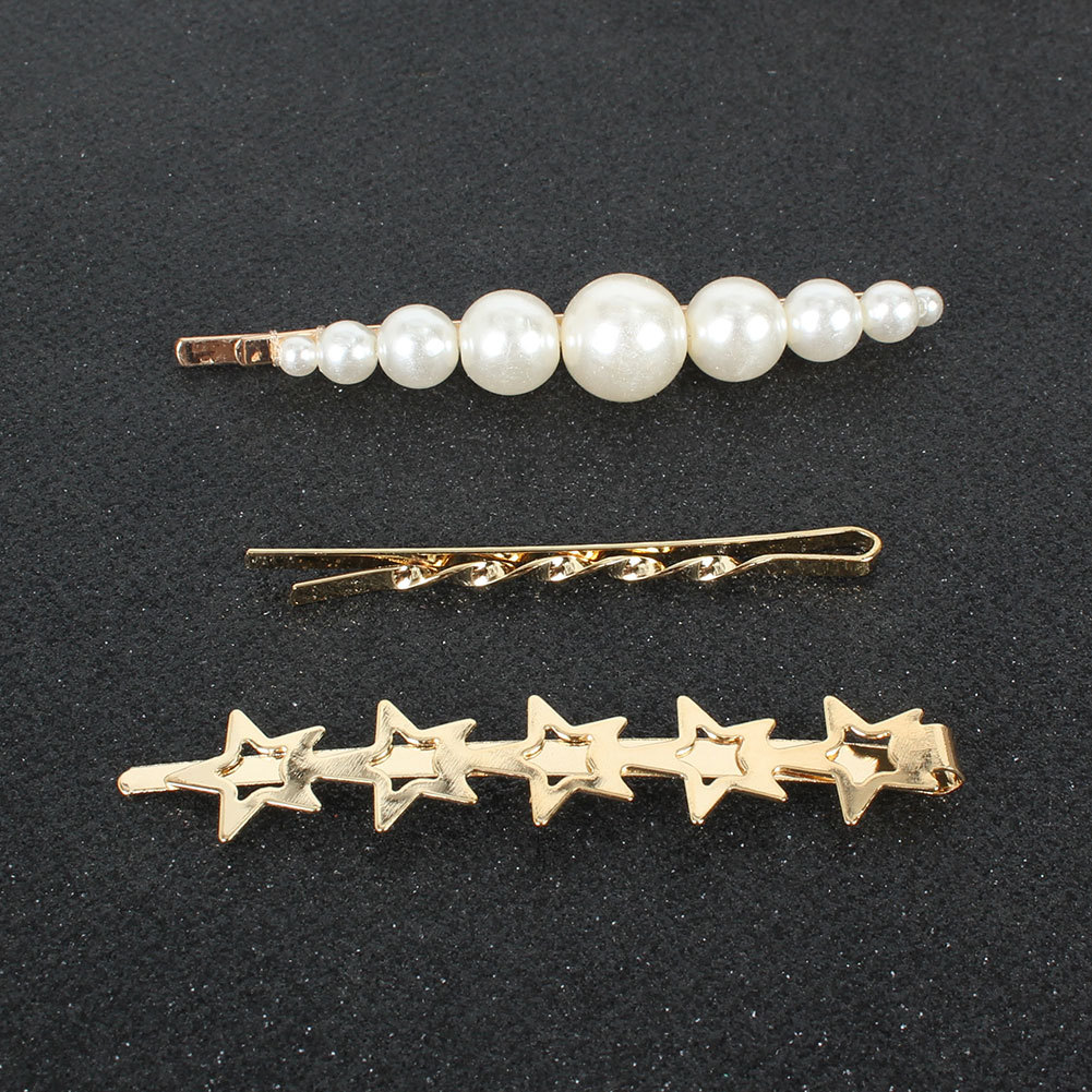 Korean sweet wind five-pointed star hairpin alloy inlaid pearl word clip hair accessories wholesale NHCT251489