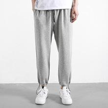 夏季薄款灰色运动裤男士宽松直筒篮球长裤子束脚休闲百搭潮流卫裤