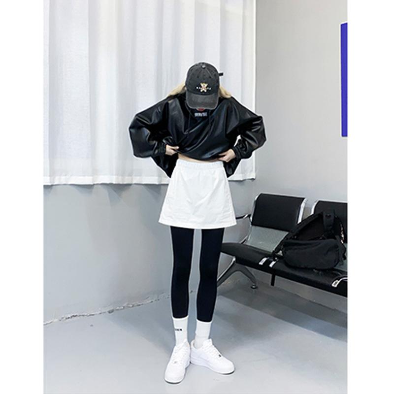 时髦字母打底裤女2020春秋新款潮酷骑行裤黑色外穿紧身裤代理代发