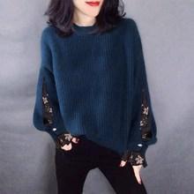 时尚网纱宽松圆领套头针织衫毛衣欧洲站2020秋季女装新款欧货韩版