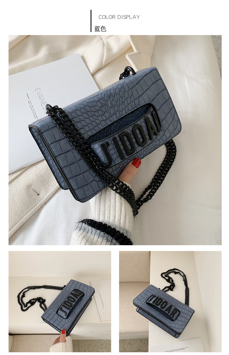 Crocodile pattern new Korean spring and summer allmatch crossbody shoulder chain small square bag wholesale NHLH250649