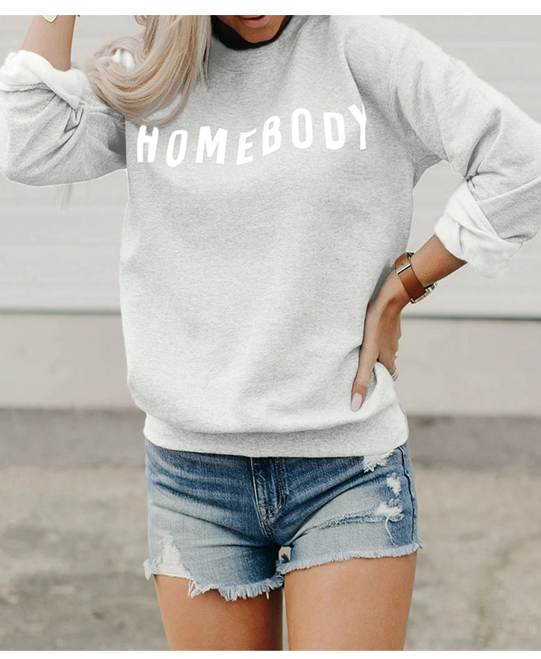 women's long-sleeved autumn loose pullover round neck letter pattern sweater NSSI2486