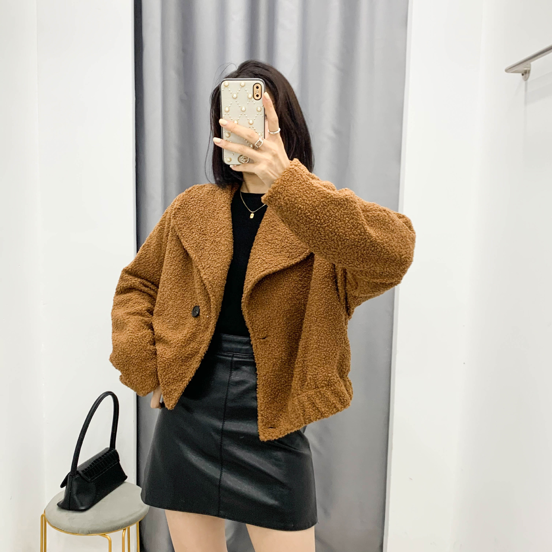 new autumn and winter loose long-sleeved plush faux fur retro jacket  NSAM2280