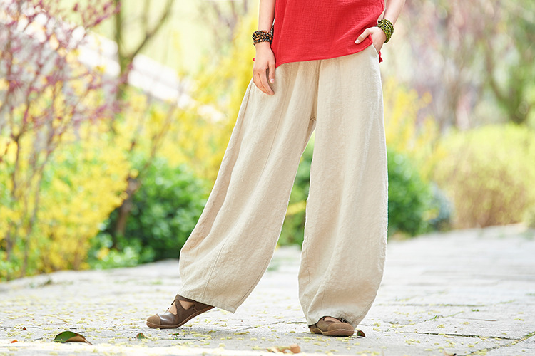 Retro Cotton Linen Washed Wild Bloomers Loose Pants NSYF3632