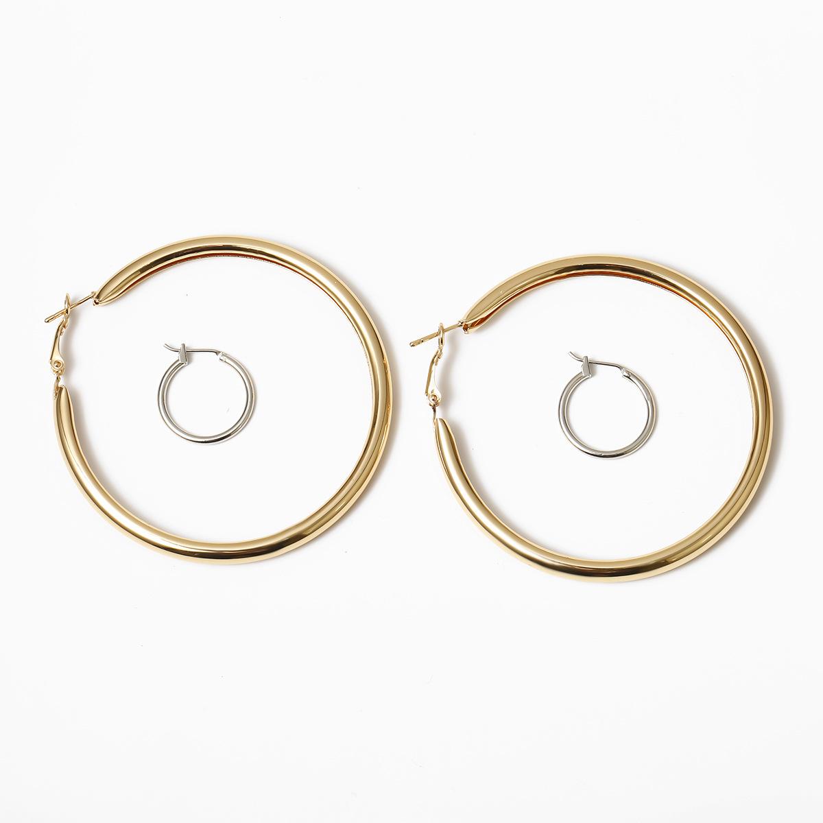 Jewelry simple mixed color earrings for women retro geometric ring earrings NHXR203564