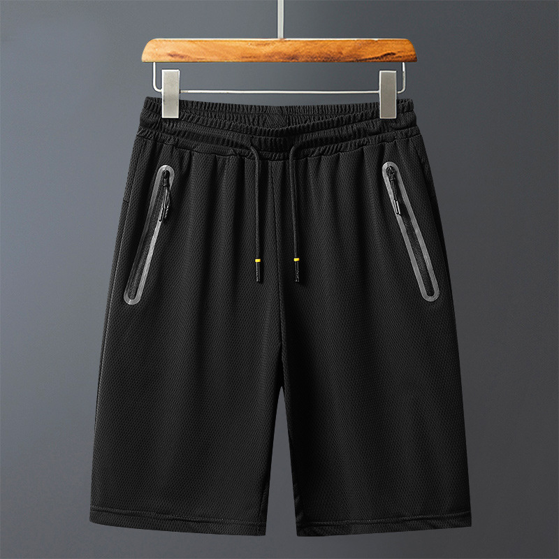 Summer ultra-thin ice silk large size hollow quick-drying men's casual shorts flat-mouth sports pants five-point pants air conditioning pants