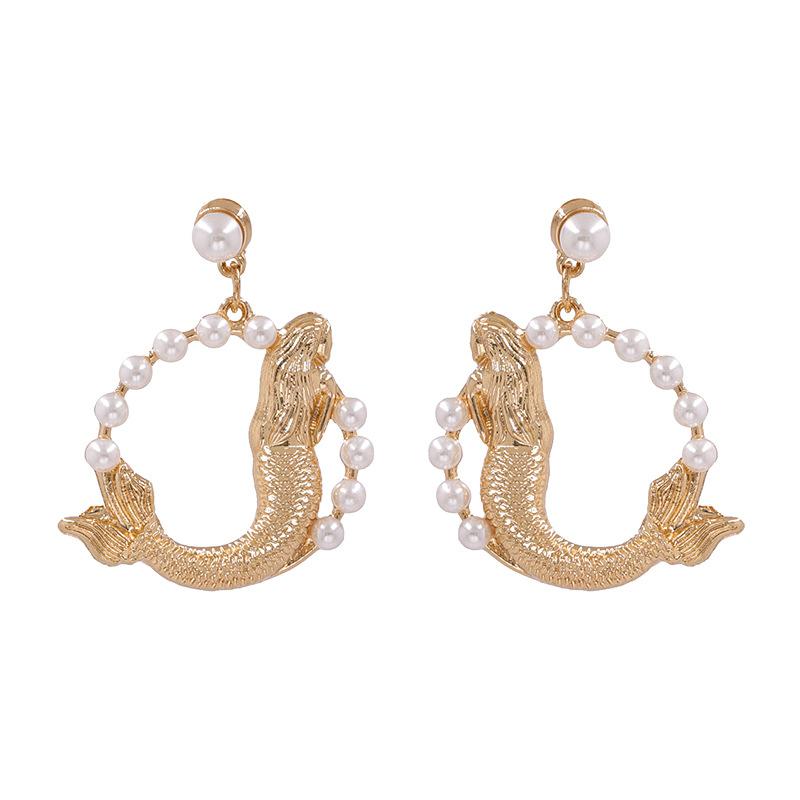 New big fish pearl earrings retro elegant earrings female earrings NHJJ206746