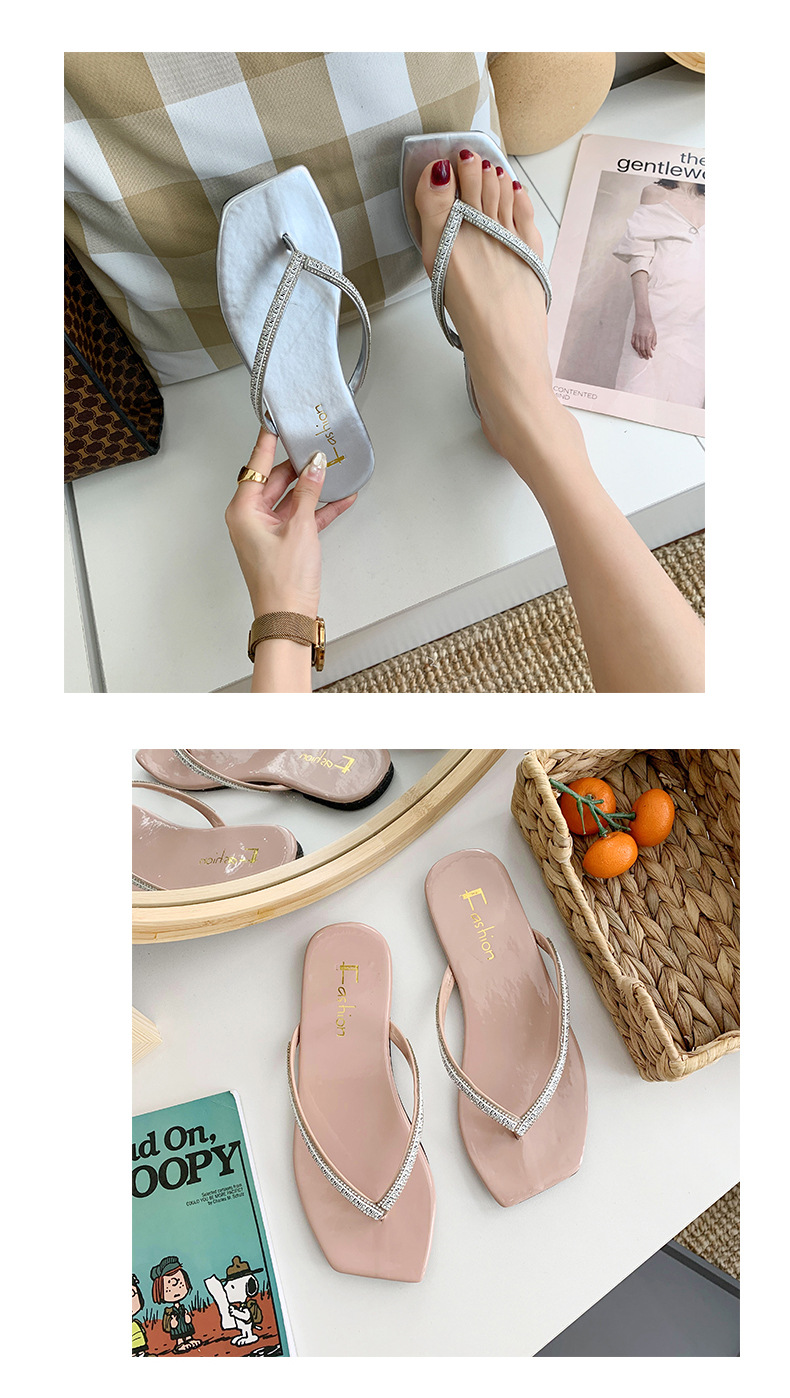 summer new outer wear Korean rhinestone decoration flip flops flat bottom solid color comfortable casual slippers wild explosion wholesale nihaojewelry NHYR221861