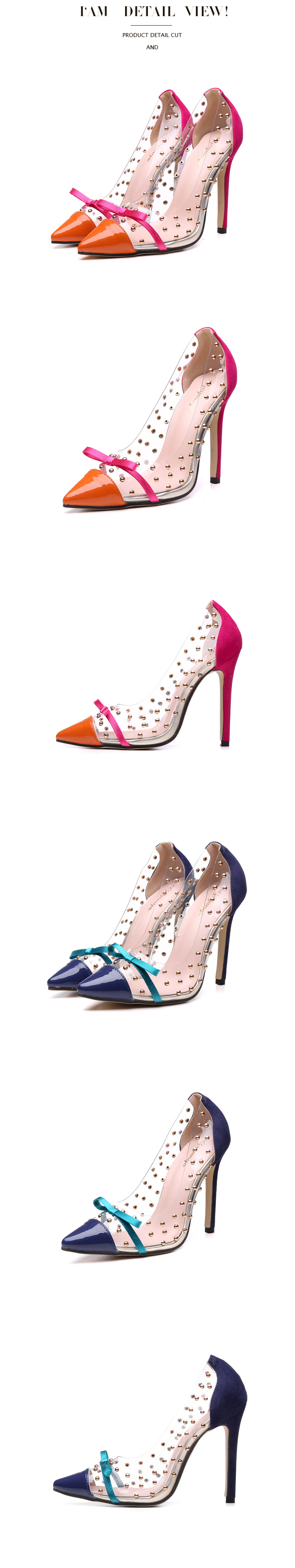 Transparencies rivet bow pointed pointed shallow heel high heel women's shoes wholesale NHEH206286