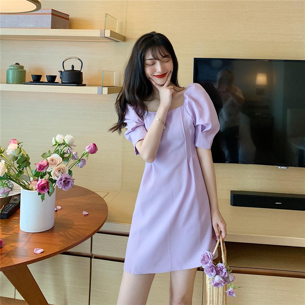 实拍 新款韩版时尚气质泡泡袖方领锁骨A字短裙夏季收腰显瘦连衣裙