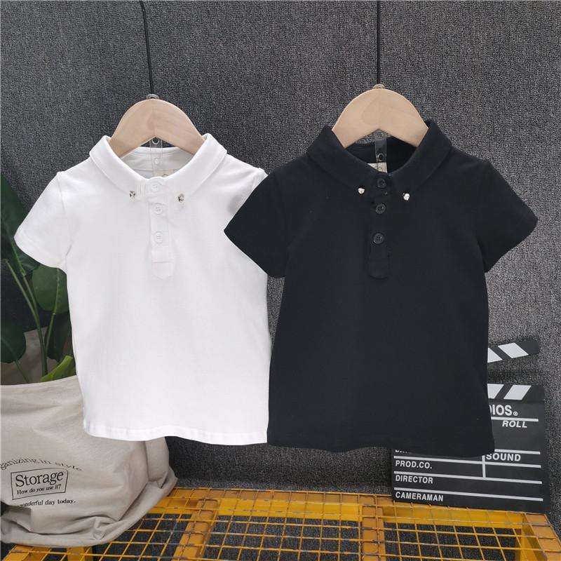 Boys' Short Sleeve Polo Shirt Summer New White Black Lapel T-Shirt For Children