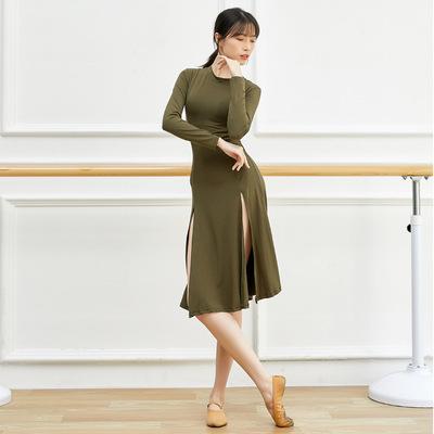 Adult ballet modern dance practice clothes black wine army green Latin dance dress for women sexy hem split modal dress