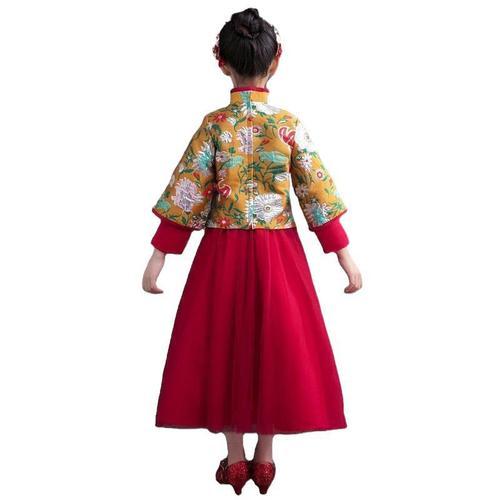 Girls Chinese Hanfu fairy dress national retro Tang Xiuhe dress long sleeves admire children guzheng performance dress