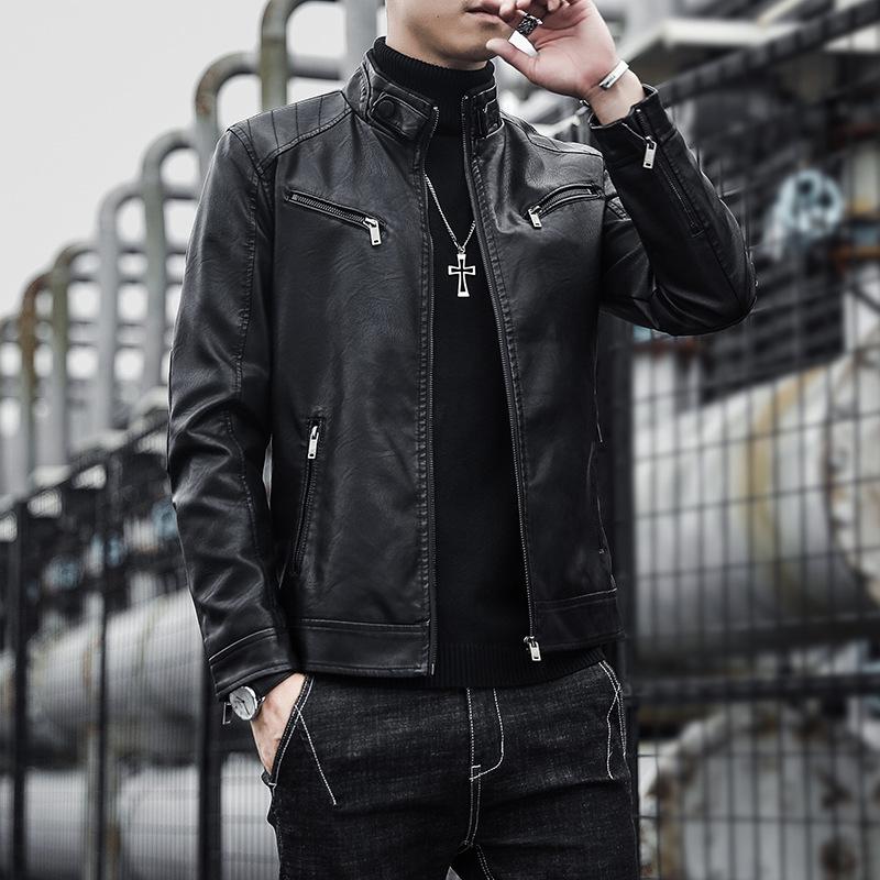 男士皮衣秋冬新款韩版潮流PU机车皮夹克青年个性帅气翻领休闲外套