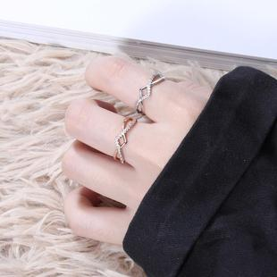 Women's Korean version of Korean style silver geometric jewelry seiko ring not inlaid with 925 silver jewelry factory wholesale