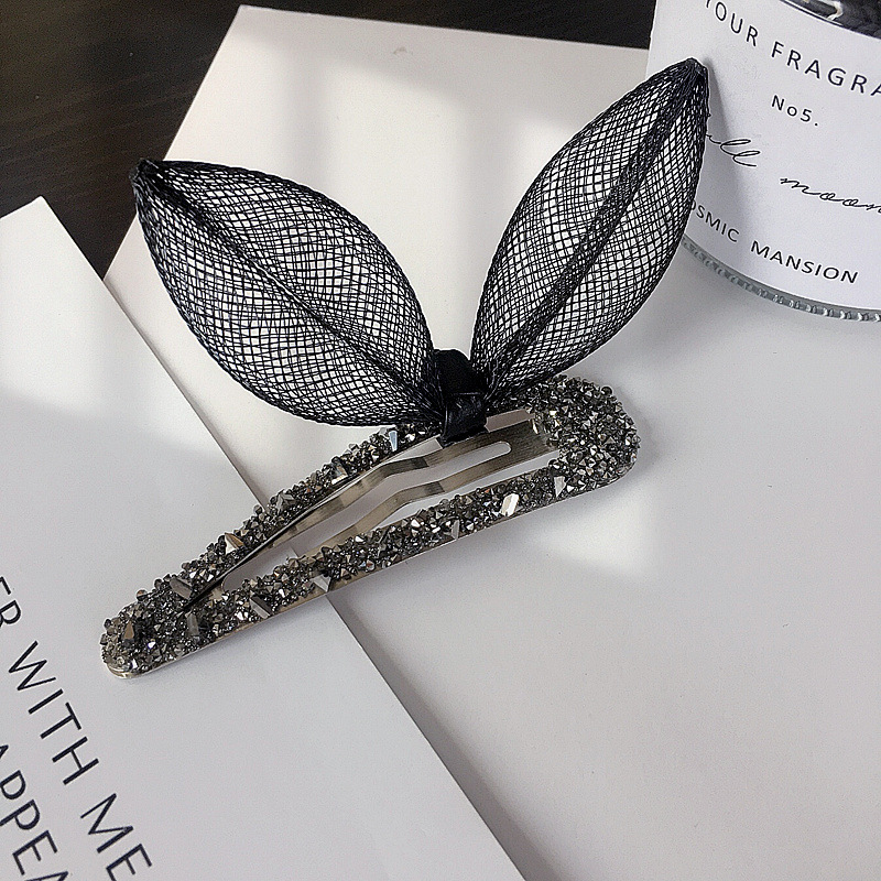 New Korean simple net yarn cute rabbit ears diamond BB clip side clip cheap hair clip NHHI204496