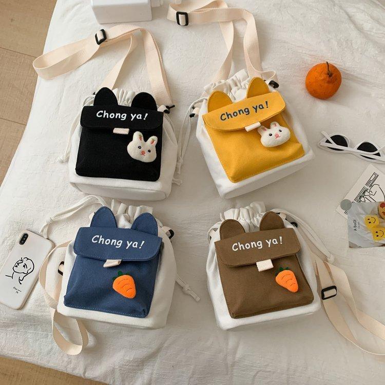 韩版可爱少女学生斜挎包女小包包 日系原宿字母印花软妹帆布包