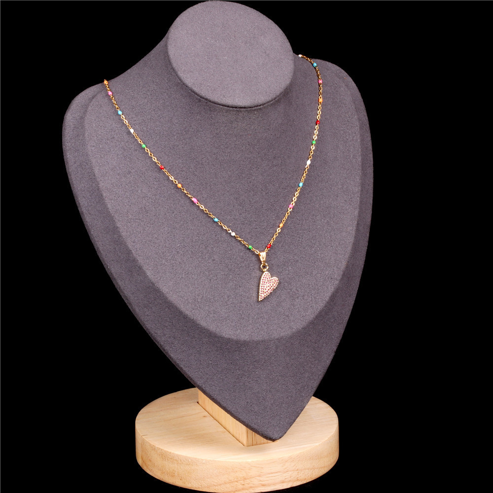 New love necklace fashion diamond peach heart pendant clavicle chain stainless steel drip chain nihaojewelry wholesale NHPY213867