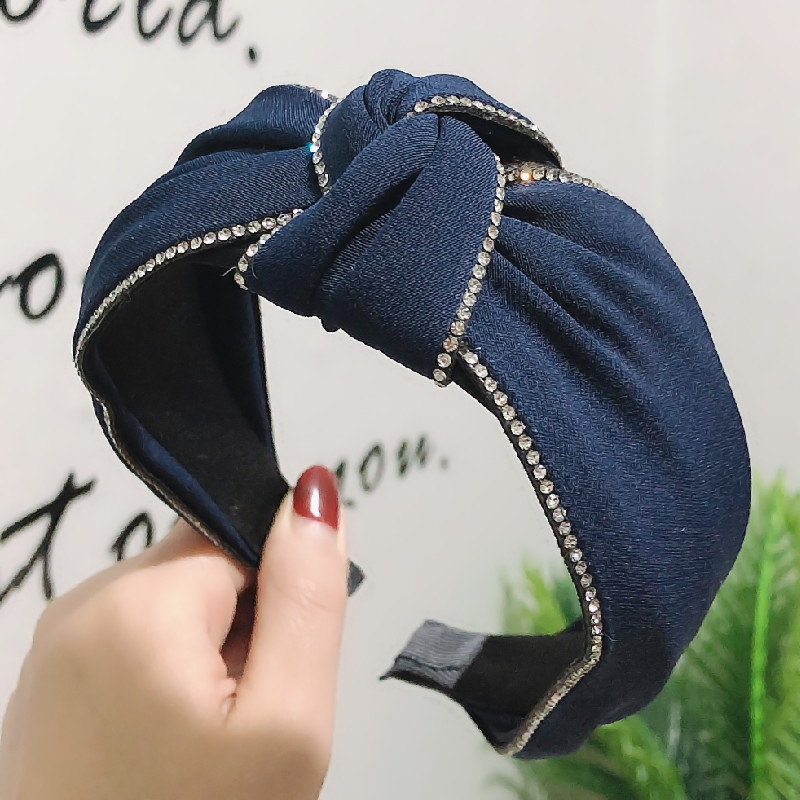 New High-end Boutique Hair Accessories Korean Double Drain Drill Middle Knot Wide Headband Creative Women's Hair Band NHRH198776