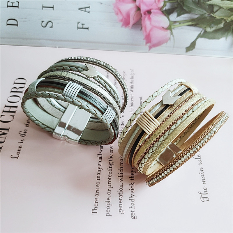 fashion popular retro bracelet multi-layer alloy pu leather handmade trend bracelet accessories  wholesale nihaojewelry NHVA221543