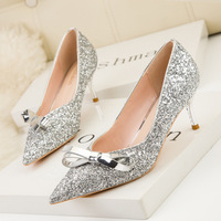 188-2 han edition sweet stiletto heel with shallow mouth pointed sequined bow temperament show tall single woman shoes