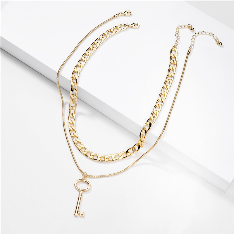 fashion jewelry simple double snake chain flat pressed chain multilayer necklace alloy key pendant wholesale nihaojewelry NHLU225805